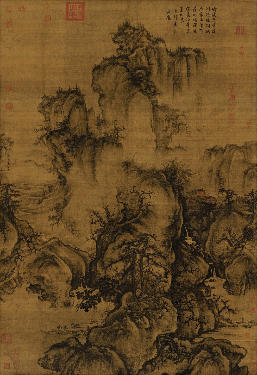 "Guo Xi's 11th Century ""Early Spring"" hanging scroll, ink and light color on silk; a famous Song Dynasty (907-1279) landscape painting. Image courtesy of China Online Museum"