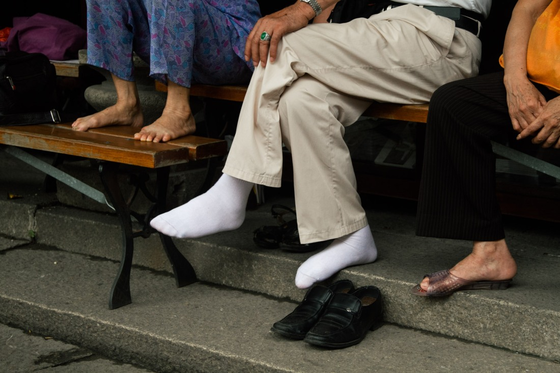 "About socks, shoes, and feet, Yunnan province. Photography by Irina Kovalchuk of MOOI Studio Beijing, ""From Far Away,"" 2019. All rights reserved"